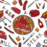 Seamless Pattern of Summer BBQ Grill Party. Big Porterhouse Steak, Sausage, Barbeque Grid, Tongs, Fork, Fire, Ketchup. Hand Drawn. Vector Illustration. Savoyar Stock Photos