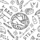 Seamless Pattern of Summer BBQ Grill Party. Big Porterhouse Steak, Sausage, Barbeque Grid, Tongs, Fork, Fire, Ketchup. Hand Drawn. Vector Illustration. Doodle Stock Photography