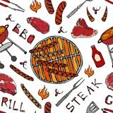 Seamless Pattern of Summer BBQ Grill Party. Big Sausages, Barbeque Grid, Tongs, Fork, Fire, Ketchup. Hand Drawn Vector Illustratio. N. Savoyar Doodle Style Royalty Free Stock Photo