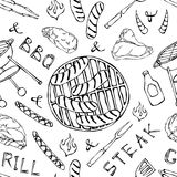 Seamless Pattern of Summer BBQ Grill Party. Big Sausages, Barbeque Grid, Tongs, Fork, Fire, Ketchup. Hand Drawn Vector Illustratio. N. Doodle Style Royalty Free Stock Image