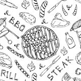 Seamless Pattern of Summer BBQ Grill Party. Big Sausages, Barbeque Grid, Tongs, Fork, Fire, Ketchup. Hand Drawn Vector Illustratio. N. Doodle Style Stock Images