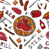 Seamless Pattern of Summer BBQ Grill Party. Big T-Bone Steak, Sausage, Barbeque Grid, Tongs, Fork, Fire, Ketchup. Hand Drawn Vecto. R Illustration. Savoyar Royalty Free Stock Image