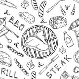 Seamless Pattern of Summer BBQ Grill Party. Big T-Bone Steak, Sausage, Barbeque Grid, Tongs, Fork, Fire, Ketchup. Hand Drawn Vecto. R Illustration. Doodle Style Stock Photography