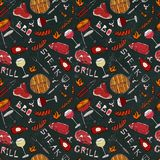 Seamless Pattern of Summer BBQ Grill Party. Glass of Red, Rose and White Vine, Steak, Sausage, Barbeque Grid. Black Board Backgrou. Nd and Chalk. Hand Drawn Stock Image