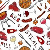 Seamless Pattern of Summer BBQ Grill Party. Glass of Red, Rose and White Vine, Steak, Sausage, Barbeque Grid, Tongs, Fork, Fire, K. Etchup. Hand Drawn Vector Royalty Free Stock Photography