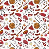 Seamless Pattern of Summer BBQ Grill Party. Glass of Red, Rose and White Vine, Steak, Sausage, Barbeque Grid, Tongs, Fork, Fire, K. Etchup. Hand Drawn Vector Stock Photography