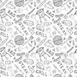 Seamless Pattern of Summer BBQ Grill Party. Glass of Red, Rose and White Wine, Steak, Sausage, Barbeque Grid, Tongs, Fork, Fire, K. Etchup. Hand Drawn Vector Royalty Free Stock Images