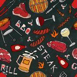 Seamless Pattern of Summer BBQ Grill Party. Glass of Red, White VineSteak, Sausage, Barbeque Grid, Tongs, Fork. Black Board Backgr. Ound and Chalk. Hand Drawn vector illustration
