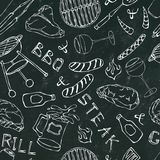 Seamless Pattern of Summer BBQ Grill Party. Glass of Red, White VineSteak, Sausage, Barbeque Grid, Tongs, Fork. Black Board Backgr. Ound and Chalk. Hand Drawn royalty free illustration