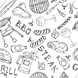 Seamless Pattern of Summer BBQ Grill Party. Glass of Red, White VineSteak, Sausage, Barbeque Grid, Tongs, Fork. Hand Drawn Vector. Illustration. Doodle Style stock illustration