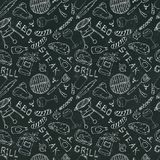 Seamless Pattern of Summer BBQ Grill Party. Glass of Red, White Wine, Steak, Sausage, Barbeque Grid, Tongs, Fork. Black Board Back. Ground and Chalk. Hand Drawn stock illustration