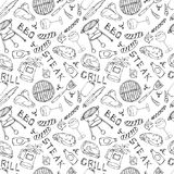 Seamless Pattern of Summer BBQ Grill Party. Glass of Red, White Wine, Steak, Sausage, Barbeque Grid, Tongs, Fork. Hand Drawn Vecto. R Illustration. Doodle Style stock illustration