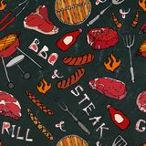 Seamless Pattern of Summer BBQ Grill Party. Steak, Sausage, Barbeque Grid, Tongs, Fork, Fire, Ketchup. Black Board Background and. Chalk. Hand Drawn Vector Royalty Free Stock Image
