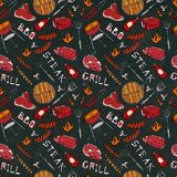 Seamless Pattern of Summer BBQ Grill Party. Steak, Sausage, Barbeque Grid, Tongs, Fork, Fire, Ketchup. Black Board Background and. Chalk. Hand Drawn Vector Royalty Free Stock Photo