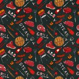 Seamless Pattern of Summer BBQ Grill Party. Steak, Sausage, Barbeque Grid, Tongs, Fork, Fire, Ketchup. Black Board Background and. Chalk. Hand Drawn Vector Stock Photography