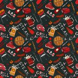 Seamless Pattern of Summer BBQ Grill Party. Steak, Sausage, Barbeque Grid, Tongs, Fork, Fire, Ketchup. Black Board Background and. Chalk. Hand Drawn Vector Royalty Free Stock Photography
