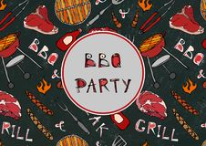 Seamless Pattern of Summer BBQ Grill Party. Steak, Sausage, Barbeque Grid, Tongs, Fork, Fire, Ketchup. Black Board Background and. Chalk. Hand Drawn Vector royalty free illustration
