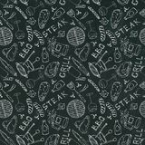 Seamless Pattern of Summer BBQ Grill Party. Steak, Sausage, Barbeque Grid, Tongs, Fork, Fire, Ketchup. Black Board Background and. Chalk. Hand Drawn Vector vector illustration