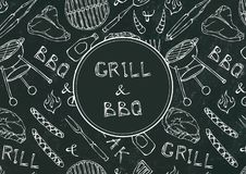 Seamless Pattern of Summer BBQ Grill Party. Steak, Sausage, Barbeque Grid, Tongs, Fork, Fire, Ketchup. Black Board Background and. Chalk. Hand Drawn Vector stock illustration