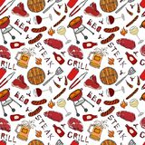 Seamless Pattern of Summer BBQ Grill Party. Steak, Sausage, Barbeque Grid, Tongs, Fork, Fire, Ketchup. Hand Drawn Vector Illustrat. Ion. Savoyar Doodle Style Stock Photography