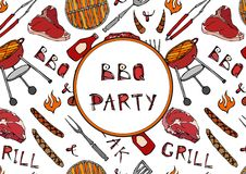 Seamless Pattern of Summer BBQ Grill Party. Steak, Sausage, Barbeque Grid, Tongs, Fork, Fire, Ketchup. Hand Drawn Vector Illustrat. Ion. Savoyar Doodle Style Royalty Free Stock Image