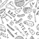 Seamless Pattern of Summer BBQ Grill Party. Steak, Sausage, Barbeque Grid, Tongs, Fork, Fire, Ketchup. Hand Drawn Vector Illustrat. Ion. Cute Doodle Style Royalty Free Stock Photography