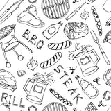 Seamless Pattern of Summer BBQ Grill Party. Steak, Sausage, Barbeque Grid, Tongs, Fork, Fire, Ketchup. Hand Drawn Vector Illustrat. Ion. Doodle Style Royalty Free Stock Photography