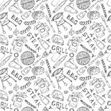 Seamless Pattern of Summer BBQ Grill Party. Steak, Sausage, Barbeque Grid, Tongs, Fork, Fire, Ketchup. Hand Drawn Vector Illustrat. Ion. Doodle Style Royalty Free Stock Images