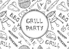 Seamless Pattern of Summer BBQ Grill Party. Steak, Sausage, Barbeque Grid, Tongs, Fork, Fire, Ketchup. Hand Drawn Vector Illustrat. Ion.Doodle Style Stock Photos