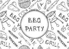 Seamless Pattern of Summer BBQ Grill Party. Steak, Sausage, Barbeque Grid, Tongs, Fork, Fire, Ketchup. Hand Drawn Vector Illustrat. Ion. Doodle Style Stock Photos