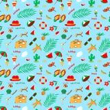 Seamless pattern with summer beach objects. Seasonal background. Stock Image