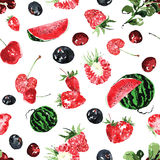 Seamless pattern of summer berries, in watercolor Stock Image