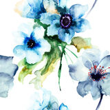 Seamless pattern with Summer blue flowers Royalty Free Stock Photo