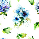 Seamless pattern with summer blue flowers Royalty Free Stock Images