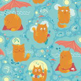 Seamless Pattern - Summer Cats - Summer Cats Stock Photo