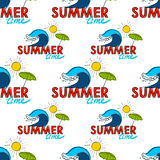 Seamless pattern. Summer doodle postcard. Hand-drawn wave, umprella and sun. Royalty Free Stock Image