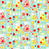 Seamless pattern with summer drinks Royalty Free Stock Images