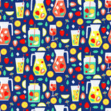 Seamless pattern with summer drinks Royalty Free Stock Photos