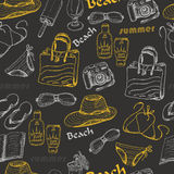 Seamless pattern with summer elements on dark background Stock Image