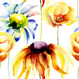 Seamless pattern with Summer flowers. Watercolor flowers Royalty Free Stock Image