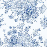 Seamless pattern with summer flowers. Stock Photos