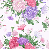Seamless pattern with summer flowers. Royalty Free Stock Images