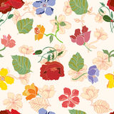 Seamless pattern with summer flowers. Decorative floral background with daisies vector illustration