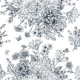 Seamless pattern with summer flowers. Stock Photo