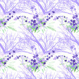 Seamless pattern with summer flowers and leaves on a white background. Seamless pattern with summer flowers and leaves on white background. Herbal pattern in Royalty Free Stock Photo