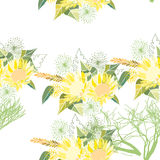 Seamless pattern with summer flowers and leaves on a white background. Seamless pattern with summer flowers and leaves on white background. Herbal pattern in stock illustration
