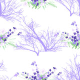 Seamless pattern with summer flowers and leaves on a white background. Seamless pattern with summer flowers and leaves on white background. Herbal pattern in Royalty Free Stock Photography