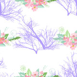 Seamless pattern with summer flowers and leaves on a white background. Seamless pattern with summer flowers and leaves on white background. Herbal pattern in royalty free illustration
