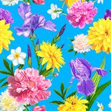 Seamless pattern summer flowers. Seamless pattern with Peonies, Iris, Narcissus and Rudbeckia flowers on a blue background. Hand drawn sketch. Template for Stock Photo