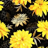 Seamless pattern summer flowers. Seamless pattern with flowers of Rudbeckia Laciniata, also called Golden Ball on a black background with sequins. Hand drawn Royalty Free Stock Photo